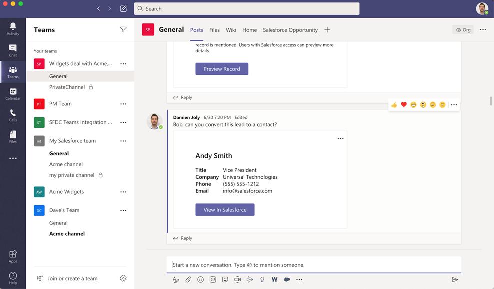 Microsoft и Salesforce запустили интеграцию продуктов Microsoft Teams с Sales Cloud и Service Cloud